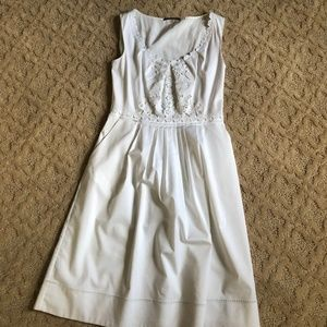 Ellie Tahara White Dress with Eyelet Details